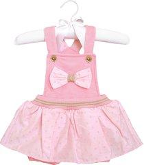 macacão curto sonho mágico tecido lacinho jardineira rosa