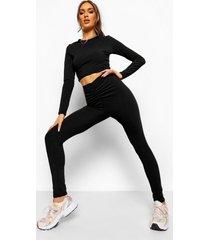 gekreukelde geribbelde crop top en geplooide leggings met v-taille, black