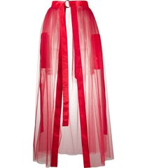 loulou sheer front slit skirt - red