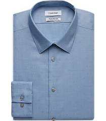 calvin klein infinite blue textured slim fit dress shirt