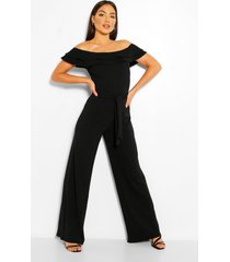 layered ruffle wide leg belted jumpsuit, black