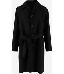 ami designer coats & jackets, black wool men's belted coat