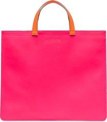 comme des garçons wallet colour-block square tote bag - pink