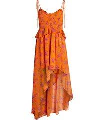 peony asymmetric high-low maxi dress
