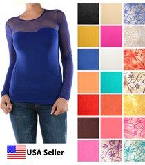 women sexy sweetheart seamless sheer long sleeve mesh neckline blouse top shirt
