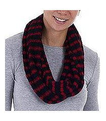 alpaca blend infinity scarf, 'parallel black' (peru)