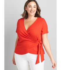 lane bryant women's crossover wrap textured top 34/36 flame scarlet