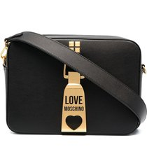 love moschino hardware detail studded crossbody bag - black