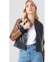 na-kd contrast sleeve pu jacket - black
