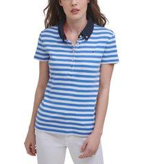 tommy hilfiger striped cotton polo shirt