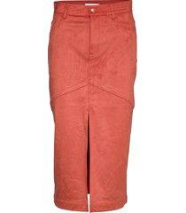 harmonia suede knälång kjol orange rodebjer