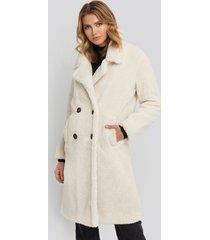na-kd long teddy coat - white