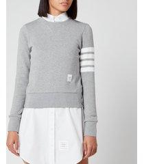 thom browne women's classic sweatshirt in classic loop back - light grey - it 40/uk 8