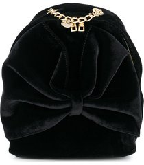 monnalisa bow velvet backpack - black