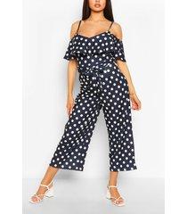 polka dot cold shoulder wide leg belted jumpsuit, navy