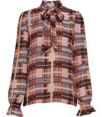checka blouse blus långärmad multi/mönstrad cream