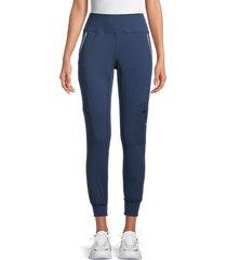 nine west women's cargo insignia high waisted leggings - blue - size m