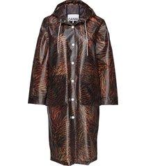 biodegradable jacket regenkleding bruin ganni