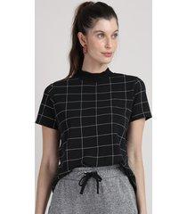 blusa feminina ampla estampada quadriculada manga curta gola alta preta