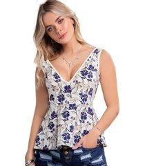 blusa para mujer estampado - marfil atypical