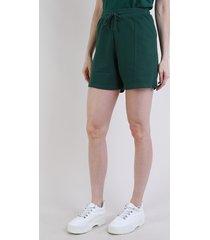 short de moletom feminino mindset cintura alta com recortes verde escuro