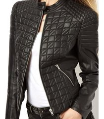 women quilted leather jacket,leather jacket for women,black color
