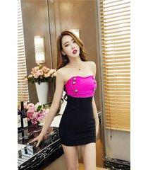 pf265 sexy youth dress, open shoulder dress w button, size s-l, pink/black