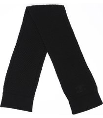 chanel black knit cc rectangular scarf black/logo sz: