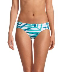 la blanca women's vista side-shirred bikini bottom - caribbean - size 16