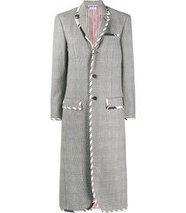 thom browne drop-waist check coat - 980 blk/wht