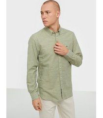 tommy hilfiger cotton linen twill shirt skjortor olive