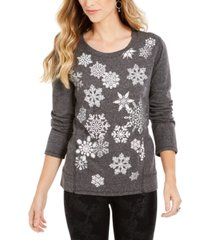 style & co snowflake embellished sweatshirt, created for macy's