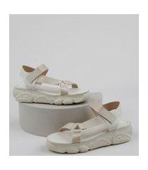 sandália papete feminina oneself com velcro bege