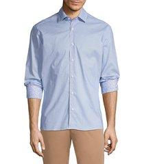 bertigo men's long-sleeve geometric-print shirt - white blue - size l