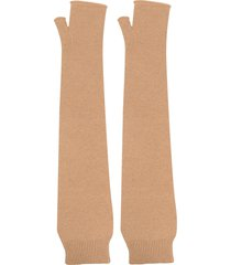 maison margiela fingerless elbow-length gloves - neutrals