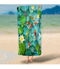 jade-color-stone-clear-pond-goldfish-lotus-3d-beach-throw-towels-microfiber-roun