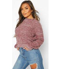 petite waffle knit marl knitted sweater, berry