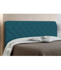 cabeceira box casal paris 140cm azul veludo textura - js móveis