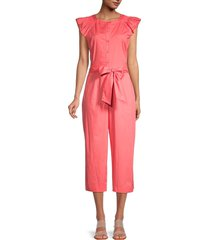 gal meets glam women's belted cropped jumpsuit - watermelon - size 2