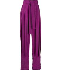 materiel high-rise pleated tie-waist trousers - purple
