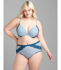 lane bryant women's cotton full brief panty with lace trim 30/32 poseidon blue grid