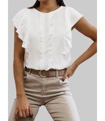 camicetta arricciata casual con colletto tondo patchwork tinta unita per donna