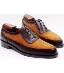 handmade men deluxe two tone dress shoes men suede and leather formal shoes