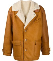 a.n.g.e.l.o. vintage cult 1980s textured lapels buttoned coat - brown