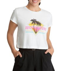 juicy couture women's cropped graphic t-shirt - bleached wash - size xl