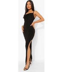 petite strakke maxi jurk met col en textuur, black
