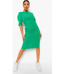 geplooide midaxi jurk met pofmouwen, green