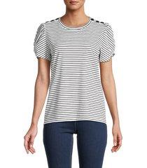 karl lagerfeld paris women's stripe puff-sleeve top - white black - size l