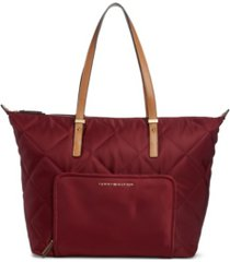 tommy hilfiger amelia quilted nylon top zip tote