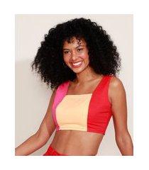 top cropped de sarja feminino tricolor com lastex alça larga decote reto multicor